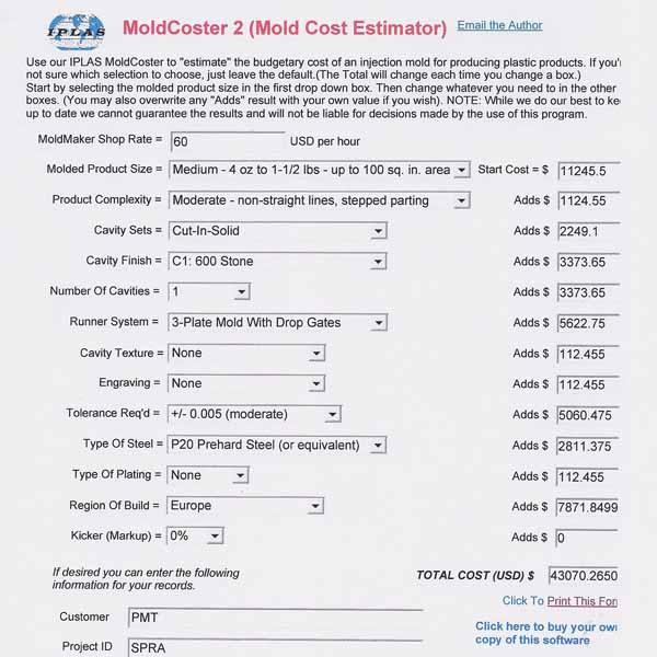 At Last A Simple Low Cost Program That Estimates The Tooling Costs For Injection Moulding It Has Always Been Easy To Calculate Of Material