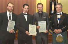SPRA scholarship winners Mark Benstead, Steven Martin and Steven Flint with SPRA President, Fergus Hardie