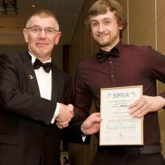 Nathan Minors, SPRA Scholarship winner, with Simon Wrighton, ARBURG.