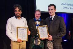 2016 Student Scholarship winners Bandar Alhajri and Will Speakman flank the SPRA President